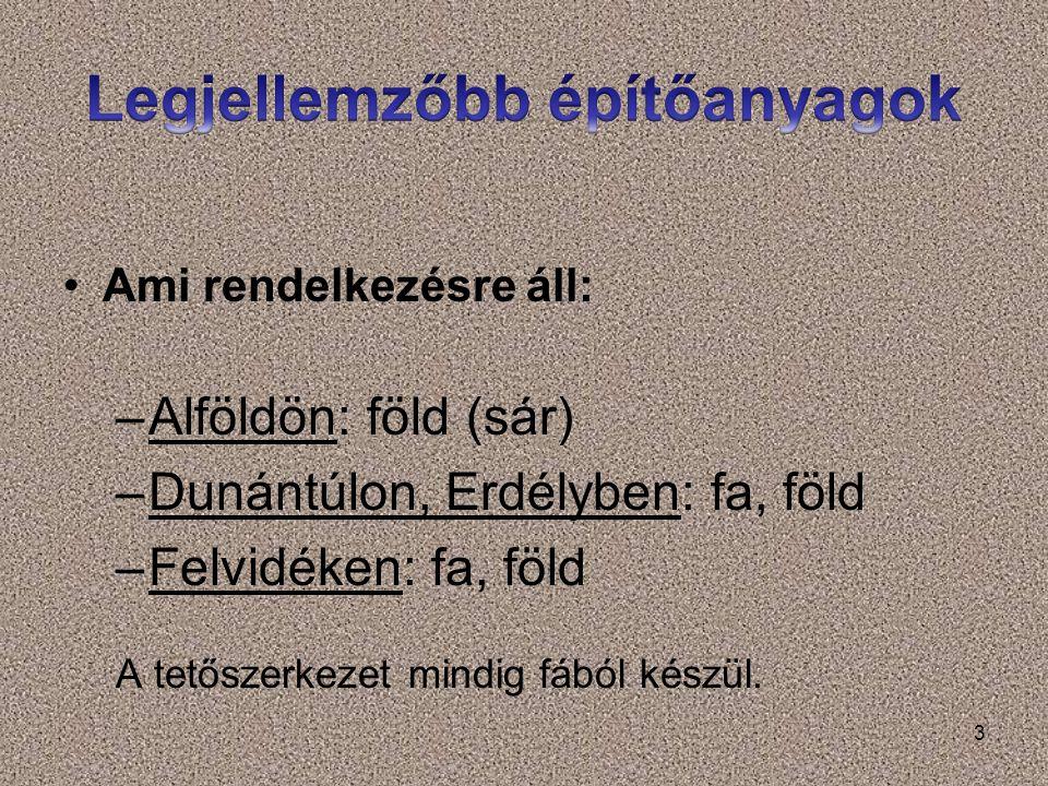 3 Ami rendelkezésre áll: –Alföldön: föld (sár) –Dunántúlon, Erdélyben: fa, föld –Felvidéken: fa, föld A tetőszerkezet mindig fából készül.