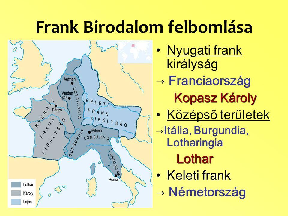 Frank Birodalom felbomlása Nyugati frank királyság → Franciaország Kopasz Károly Középső területek →Itália, Burgundia, Lotharingia Lothar Keleti frankKeleti frank → Németország