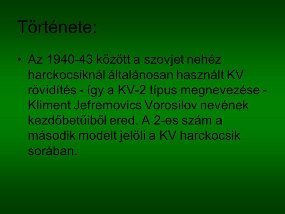 Története: Az 1940-43 között a szovjet nehéz harckocsiknál általánosan használt KV rövidítés - így a KV-2 típus megnevezése - Kliment Jefremovics Voro