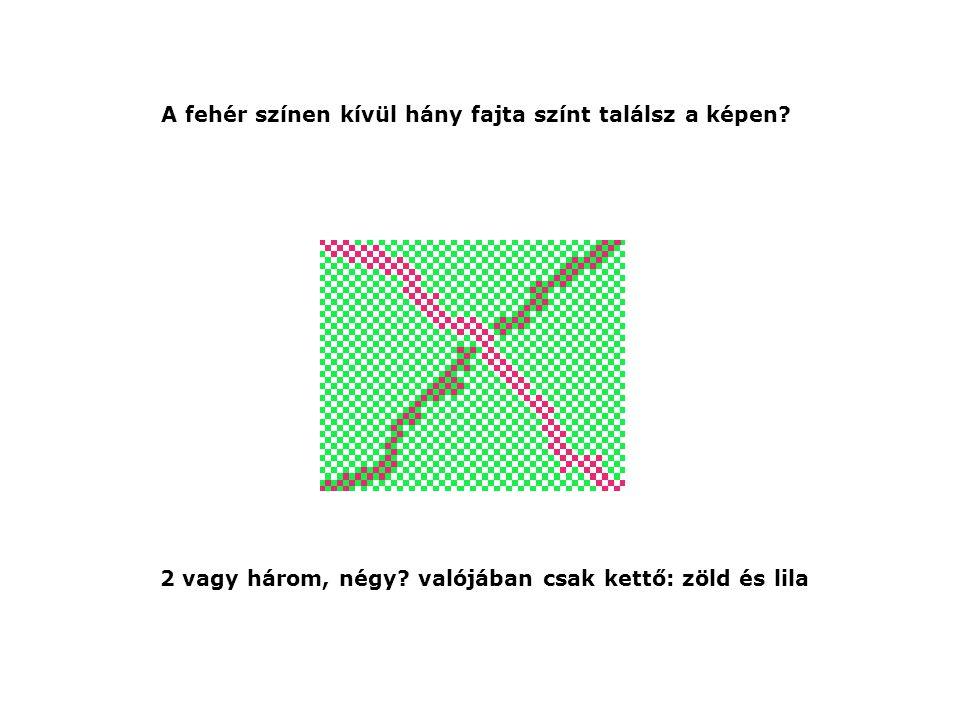 A fehér színen kívül hány fajta színt találsz a képen? 2 vagy három, négy? valójában csak kettő: zöld és lila