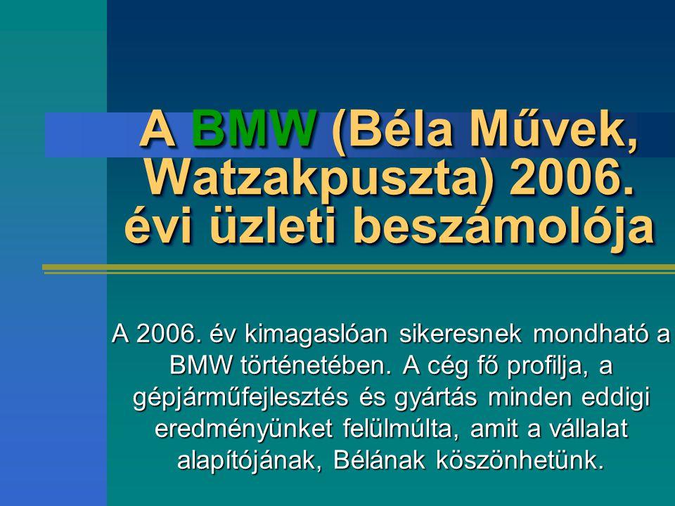 A BMW (Béla Művek, Watzakpuszta) 2006. évi üzleti beszámolója A 2006.