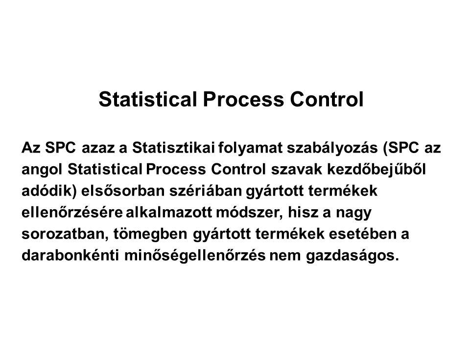 Statistical Process Control Az SPC azaz a Statisztikai folyamat szabályozás (SPC az angol Statistical Process Control szavak kezdőbejűből adódik) elsősorban szériában gyártott termékek ellenőrzésére alkalmazott módszer, hisz a nagy sorozatban, tömegben gyártott termékek esetében a darabonkénti minőségellenőrzés nem gazdaságos.