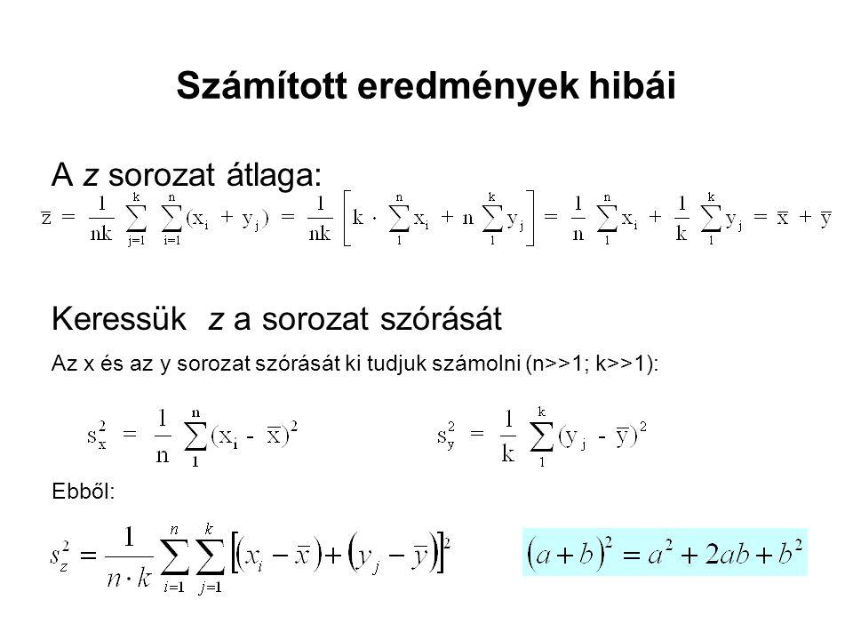 Számított eredmények hibái A z sorozat átlaga: Keressük z a sorozat szórását Az x és az y sorozat szórását ki tudjuk számolni (n>>1; k>>1): Ebből: