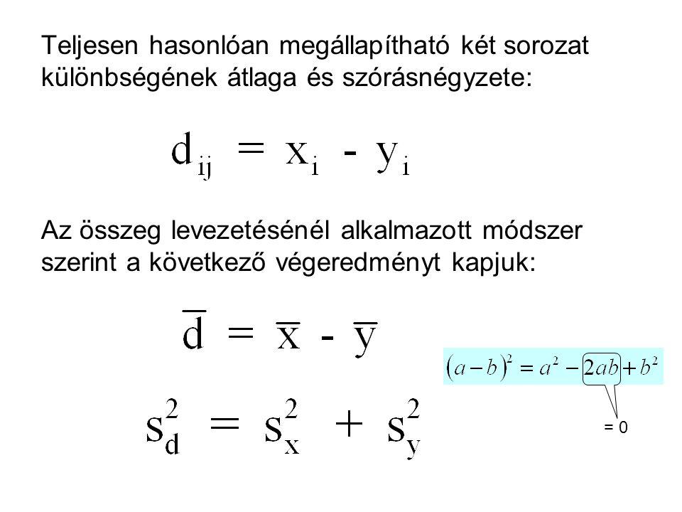 Teljesen hasonlóan megállapítható két sorozat különbségének átlaga és szórásnégyzete: Az összeg levezetésénél alkalmazott módszer szerint a következő végeredményt kapjuk: = 0