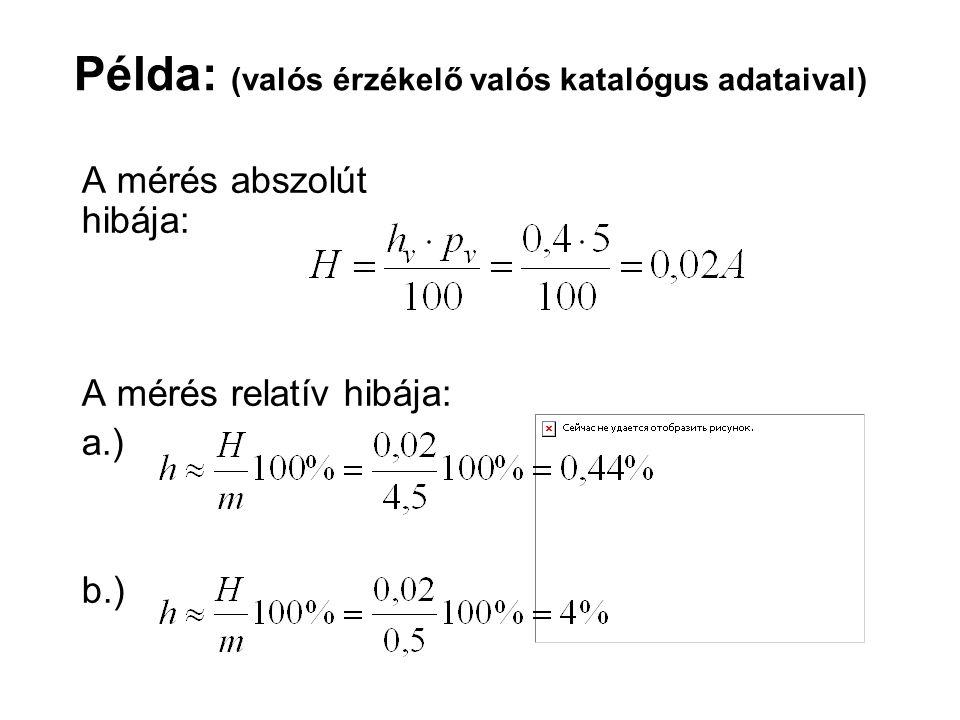 A mérés abszolút hibája: A mérés relatív hibája: a.) b.) Példa: (valós érzékelő valós katalógus adataival)
