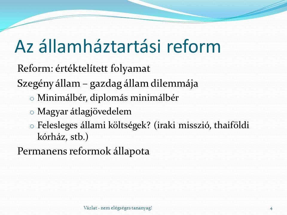 Az államháztartási reform Reform: értéktelített folyamat Szegény állam – gazdag állam dilemmája o Minimálbér, diplomás minimálbér o Magyar átlagjövedelem o Felesleges állami költségek.