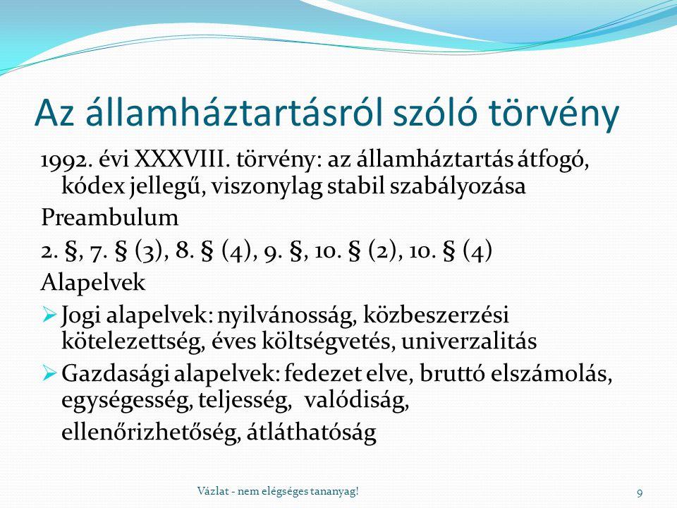 Az államháztartásról szóló törvény 1992. évi XXXVIII. törvény: az államháztartás átfogó, kódex jellegű, viszonylag stabil szabályozása Preambulum 2. §