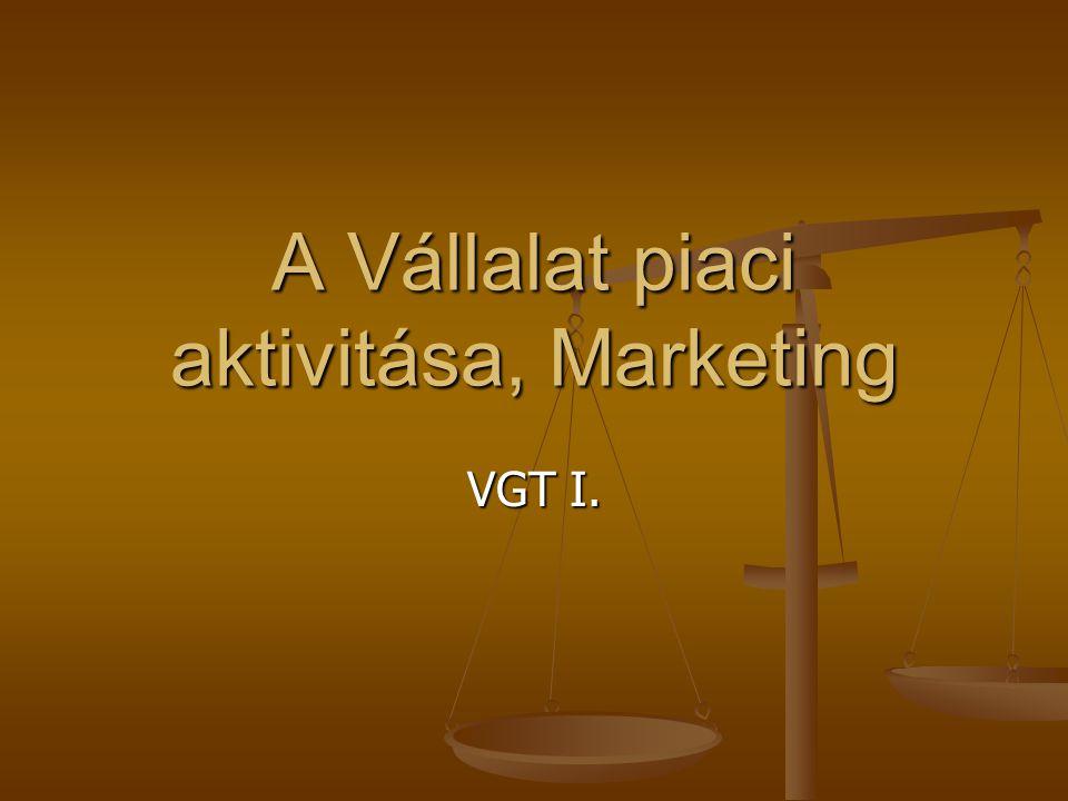 A Vállalat piaci aktivitása, Marketing VGT I.