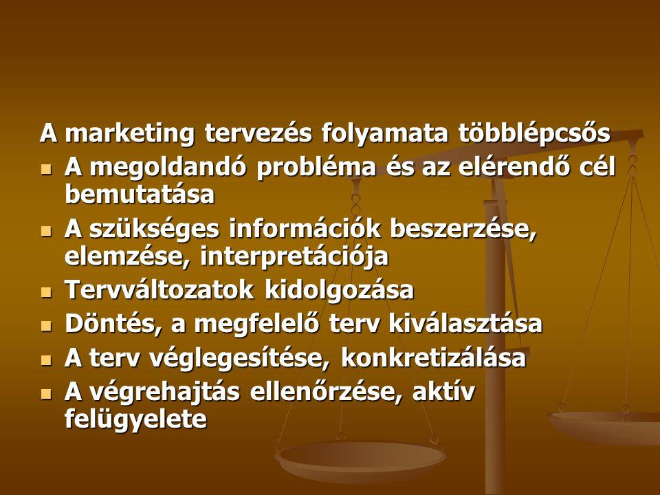 A marketing tervezés folyamata többlépcsős A megoldandó probléma és az elérendő cél bemutatása A megoldandó probléma és az elérendő cél bemutatása A szükséges információk beszerzése, elemzése, interpretációja A szükséges információk beszerzése, elemzése, interpretációja Tervváltozatok kidolgozása Tervváltozatok kidolgozása Döntés, a megfelelő terv kiválasztása Döntés, a megfelelő terv kiválasztása A terv véglegesítése, konkretizálása A terv véglegesítése, konkretizálása A végrehajtás ellenőrzése, aktív felügyelete A végrehajtás ellenőrzése, aktív felügyelete
