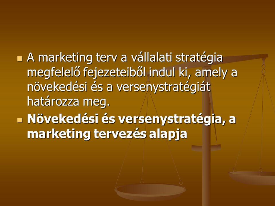 A marketing terv a vállalati stratégia megfelelő fejezeteiből indul ki, amely a növekedési és a versenystratégiát határozza meg.