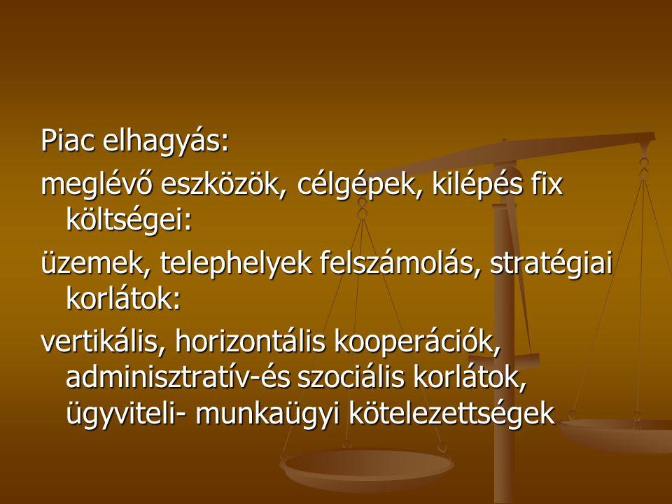 Piac elhagyás: meglévő eszközök, célgépek, kilépés fix költségei: üzemek, telephelyek felszámolás, stratégiai korlátok: vertikális, horizontális kooperációk, adminisztratív-és szociális korlátok, ügyviteli- munkaügyi kötelezettségek