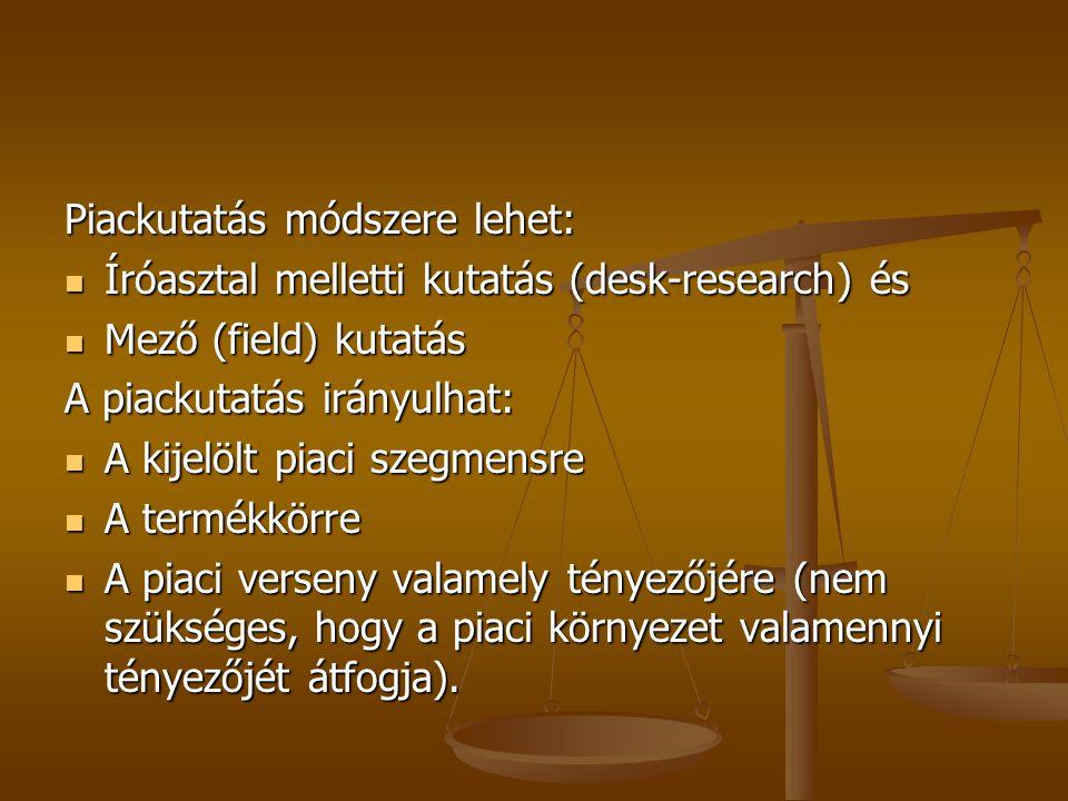 Piackutatás módszere lehet: Íróasztal melletti kutatás (desk-research) és Íróasztal melletti kutatás (desk-research) és Mező (field) kutatás Mező (fie