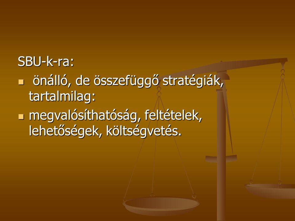 SBU-k-ra: önálló, de összefüggő stratégiák, tartalmilag: önálló, de összefüggő stratégiák, tartalmilag: megvalósíthatóság, feltételek, lehetőségek, költségvetés.