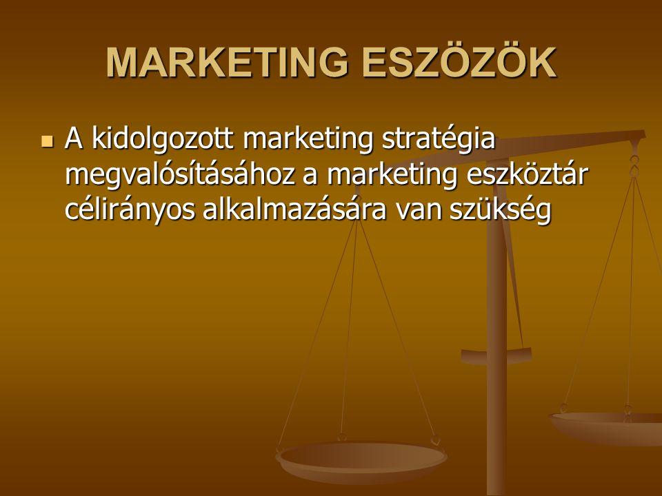 MARKETING ESZÖZÖK A kidolgozott marketing stratégia megvalósításához a marketing eszköztár célirányos alkalmazására van szükség A kidolgozott marketing stratégia megvalósításához a marketing eszköztár célirányos alkalmazására van szükség