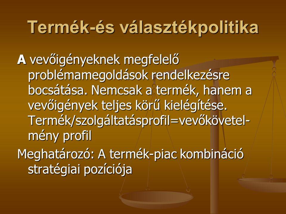 Termék-és választékpolitika A vevőigényeknek megfelelő problémamegoldások rendelkezésre bocsátása. Nemcsak a termék, hanem a vevőigények teljes körű k