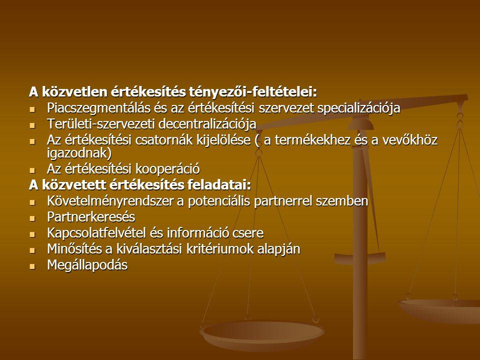 A közvetlen értékesítés tényezői-feltételei: Piacszegmentálás és az értékesítési szervezet specializációja Piacszegmentálás és az értékesítési szervezet specializációja Területi-szervezeti decentralizációja Területi-szervezeti decentralizációja Az értékesítési csatornák kijelölése ( a termékekhez és a vevőkhöz igazodnak) Az értékesítési csatornák kijelölése ( a termékekhez és a vevőkhöz igazodnak) Az értékesítési kooperáció Az értékesítési kooperáció A közvetett értékesítés feladatai: Követelményrendszer a potenciális partnerrel szemben Követelményrendszer a potenciális partnerrel szemben Partnerkeresés Partnerkeresés Kapcsolatfelvétel és információ csere Kapcsolatfelvétel és információ csere Minősítés a kiválasztási kritériumok alapján Minősítés a kiválasztási kritériumok alapján Megállapodás Megállapodás
