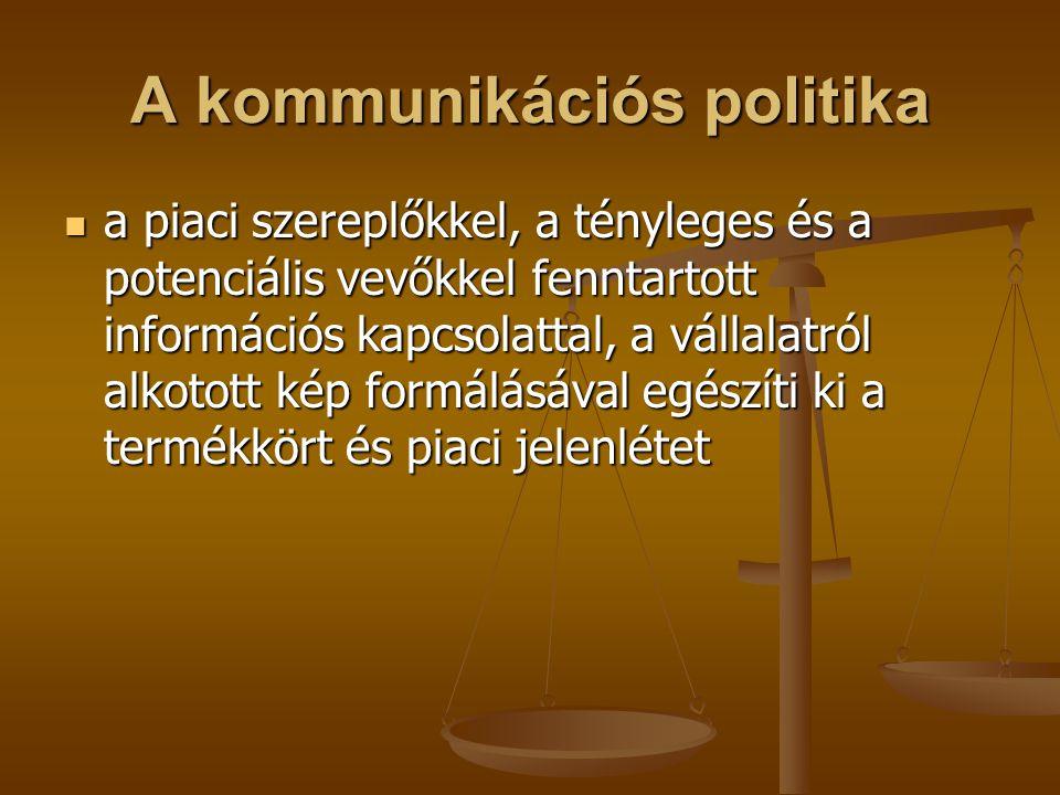 A kommunikációs politika a piaci szereplőkkel, a tényleges és a potenciális vevőkkel fenntartott információs kapcsolattal, a vállalatról alkotott kép
