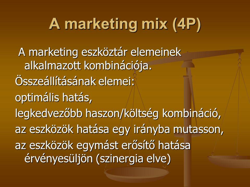 A marketing mix (4P) A marketing eszköztár elemeinek alkalmazott kombinációja. A marketing eszköztár elemeinek alkalmazott kombinációja. Összeállításá