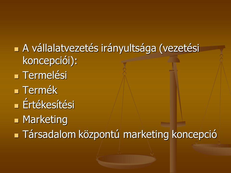 A vállalatvezetés irányultsága (vezetési koncepciói): A vállalatvezetés irányultsága (vezetési koncepciói): Termelési Termelési Termék Termék Értékesítési Értékesítési Marketing Marketing Társadalom központú marketing koncepció Társadalom központú marketing koncepció