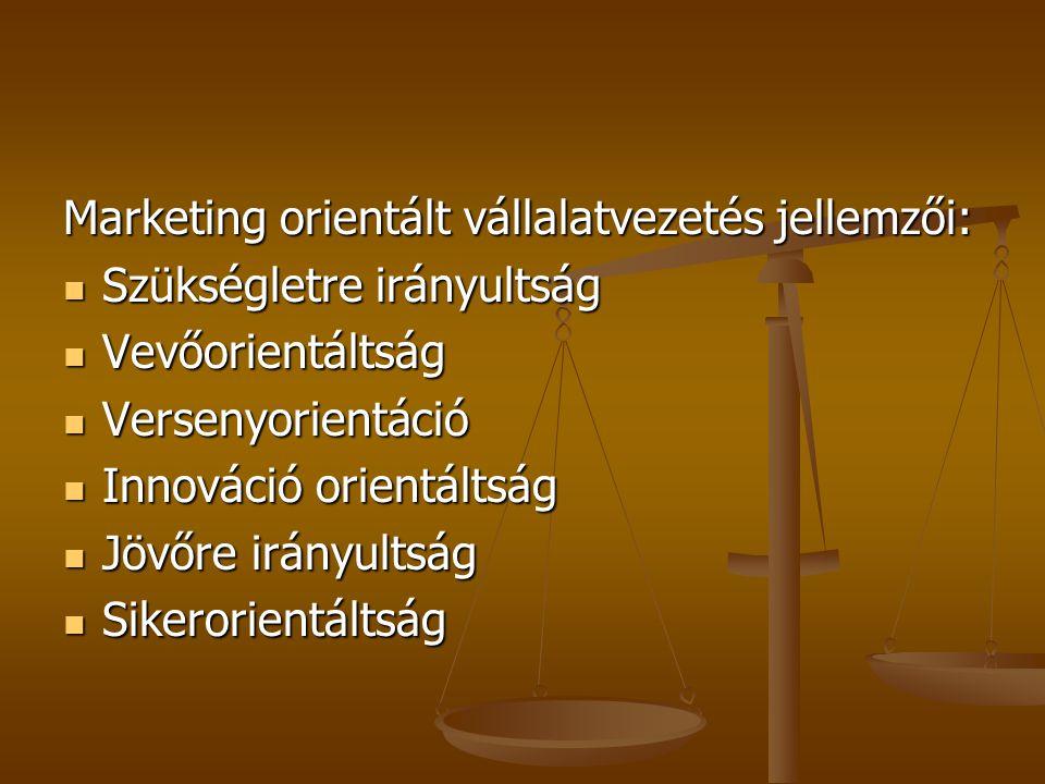 Marketing orientált vállalatvezetés jellemzői: Szükségletre irányultság Szükségletre irányultság Vevőorientáltság Vevőorientáltság Versenyorientáció Versenyorientáció Innováció orientáltság Innováció orientáltság Jövőre irányultság Jövőre irányultság Sikerorientáltság Sikerorientáltság