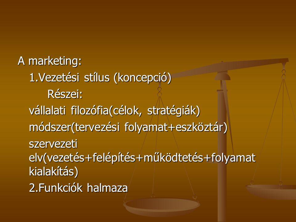 A marketing: 1.Vezetési stílus (koncepció) Részei: vállalati filozófia(célok, stratégiák) módszer(tervezési folyamat+eszköztár) szervezeti elv(vezetés+felépítés+működtetés+folyamat kialakítás) 2.Funkciók halmaza