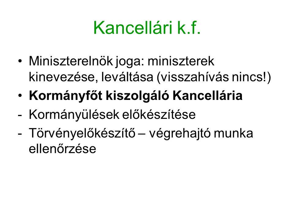 Kancellári k.f. Miniszterelnök joga: miniszterek kinevezése, leváltása (visszahívás nincs!) Kormányfőt kiszolgáló Kancellária -Kormányülések előkészít