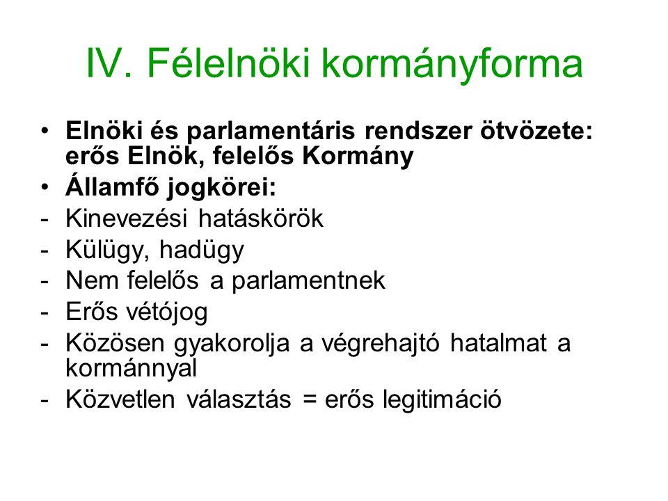 IV. Félelnöki kormányforma Elnöki és parlamentáris rendszer ötvözete: erős Elnök, felelős Kormány Államfő jogkörei: -Kinevezési hatáskörök -Külügy, ha