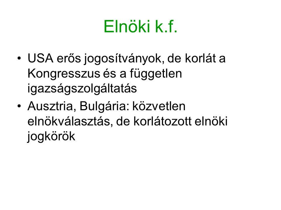 Elnöki k.f. USA erős jogosítványok, de korlát a Kongresszus és a független igazságszolgáltatás Ausztria, Bulgária: közvetlen elnökválasztás, de korlát