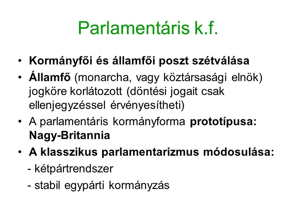 Parlamentáris k.f. Kormányfői és államfői poszt szétválása Államfő (monarcha, vagy köztársasági elnök) jogköre korlátozott (döntési jogait csak ellenj