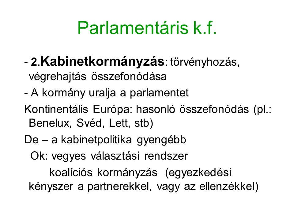 Parlamentáris k.f. - 2. Kabinetkormányzás : törvényhozás, végrehajtás összefonódása - A kormány uralja a parlamentet Kontinentális Európa: hasonló öss