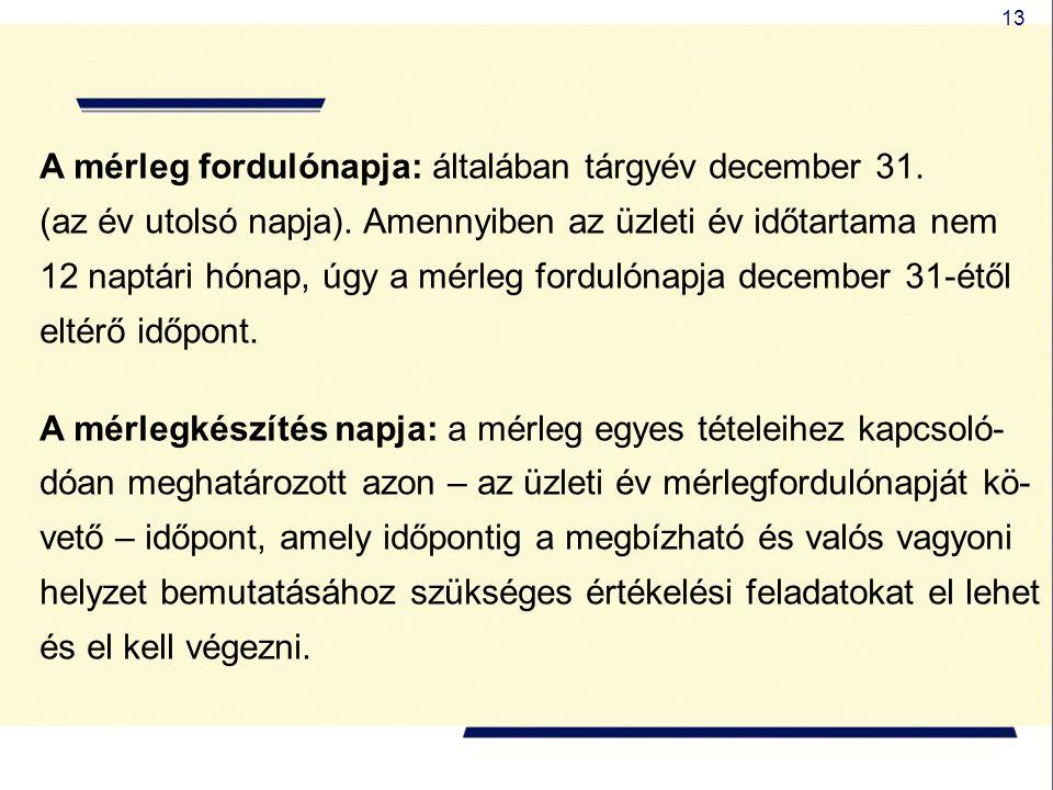 13 A mérleg fordulónapja: általában tárgyév december 31. (az év utolsó napja). Amennyiben az üzleti év időtartama nem 12 naptári hónap, úgy a mérleg f