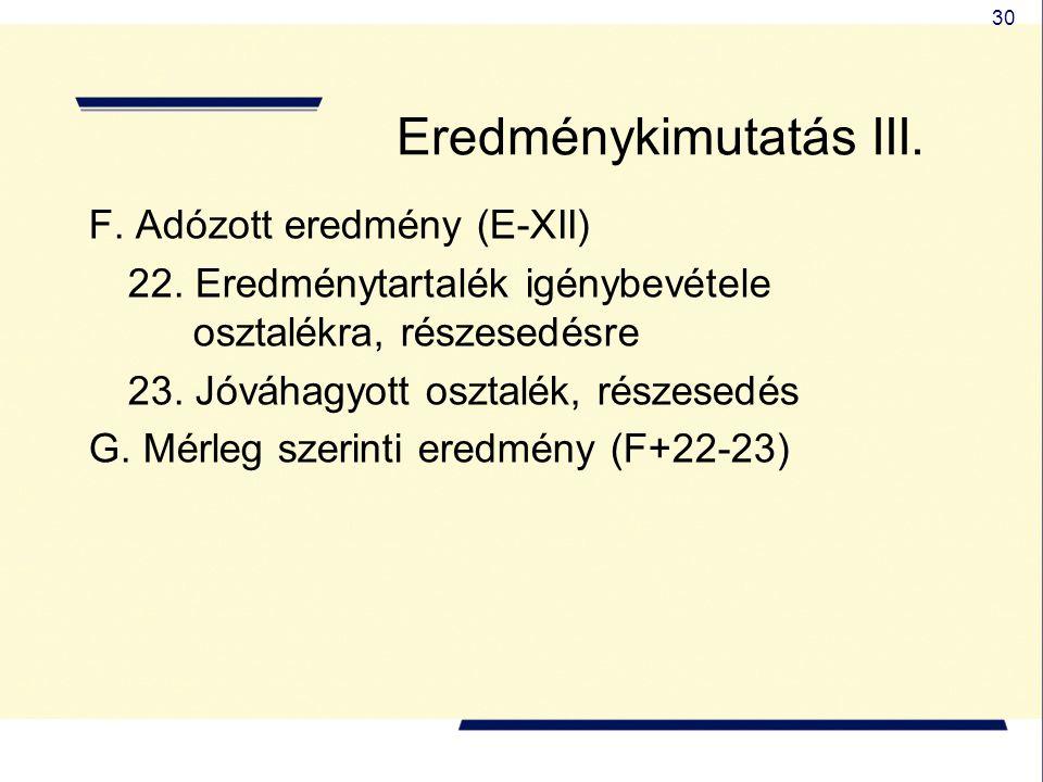 30 Eredménykimutatás III. F. Adózott eredmény (E-XII) 22. Eredménytartalék igénybevétele osztalékra, részesedésre 23. Jóváhagyott osztalék, részesedés