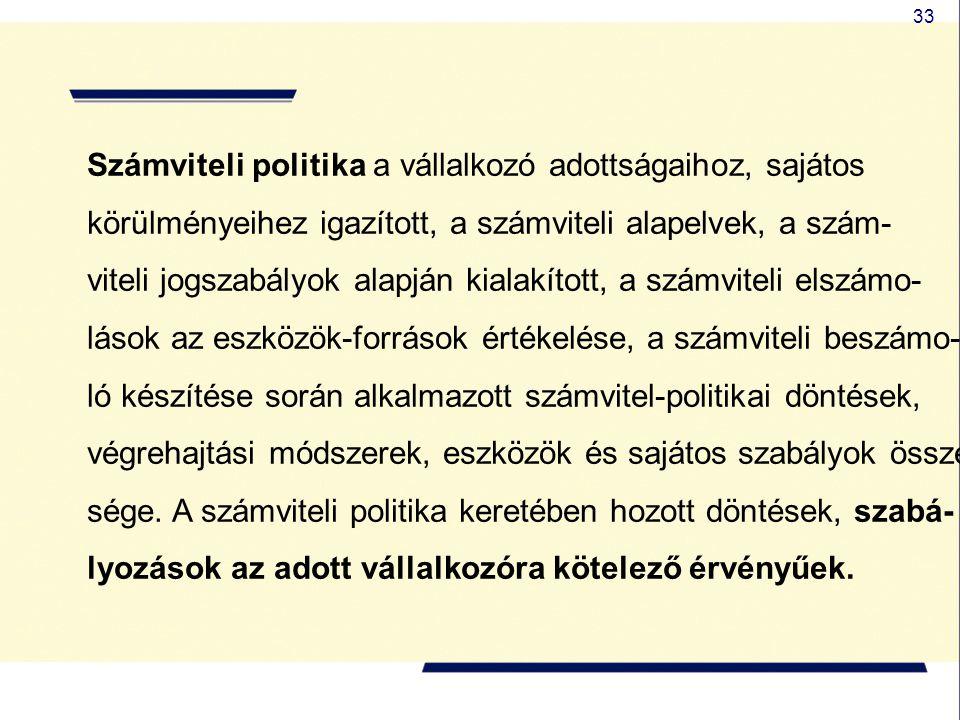 33 Számviteli politika a vállalkozó adottságaihoz, sajátos körülményeihez igazított, a számviteli alapelvek, a szám- viteli jogszabályok alapján kiala