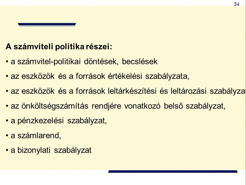 34 A számviteli politika részei: a számvitel-politikai döntések, becslések az eszközök és a források értékelési szabályzata, az eszközök és a források