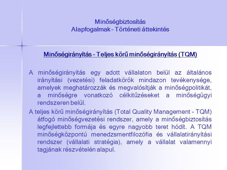 Minőségbiztosítás Alapfogalmak – Történeti áttekintés Minőségirányítás – Teljes körű minőségirányítás (TQM) A minőségirányítás egy adott vállalaton be