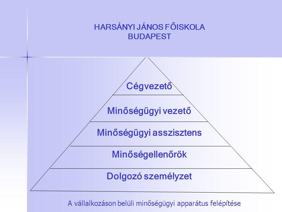 HARSÁNYI JÁNOS FŐISKOLA BUDAPEST Cégvezető Minőségügyi vezető Minőségügyi asszisztens Minőségellenőrök Dolgozó személyzet A vállalkozáson belüli minős