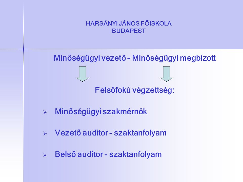 HARSÁNYI JÁNOS FŐISKOLA BUDAPEST Minőségügyi vezető – Minőségügyi megbízott Felsőfokú végzettség:   Minőségügyi szakmérnök   Vezető auditor - szak