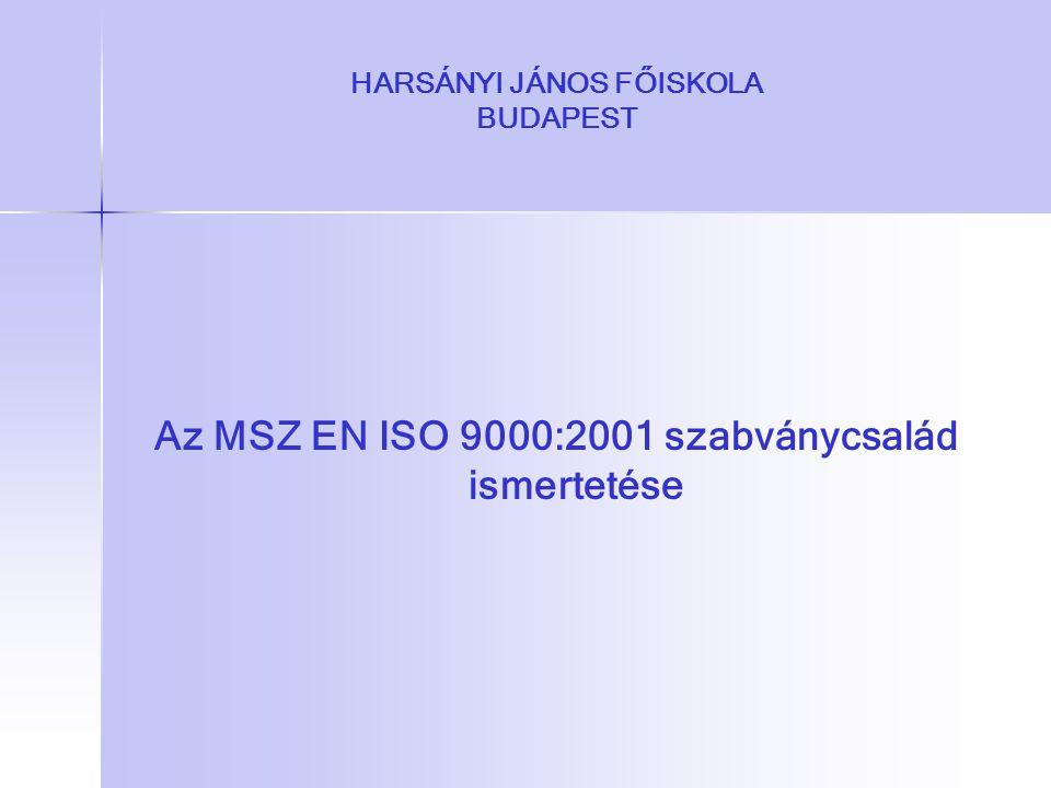 HARSÁNYI JÁNOS FŐISKOLA BUDAPEST Az MSZ EN ISO 9000:2001 szabványcsalád ismertetése
