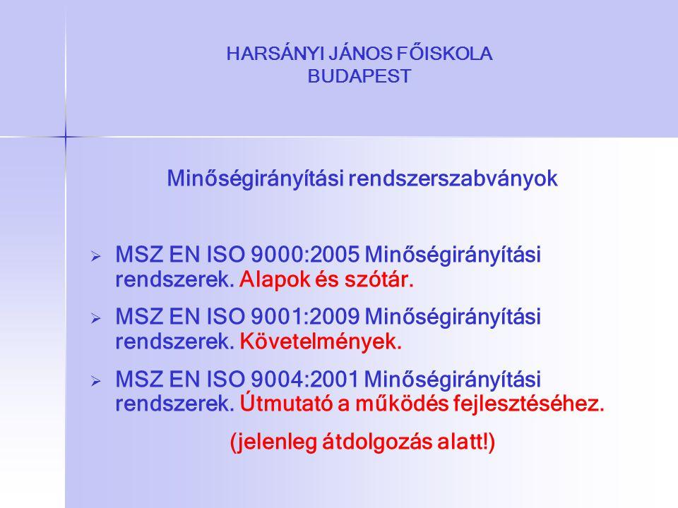 HARSÁNYI JÁNOS FŐISKOLA BUDAPEST Minőségirányítási rendszerszabványok   MSZ EN ISO 9000:2005 Minőségirányítási rendszerek. Alapok és szótár.   MSZ