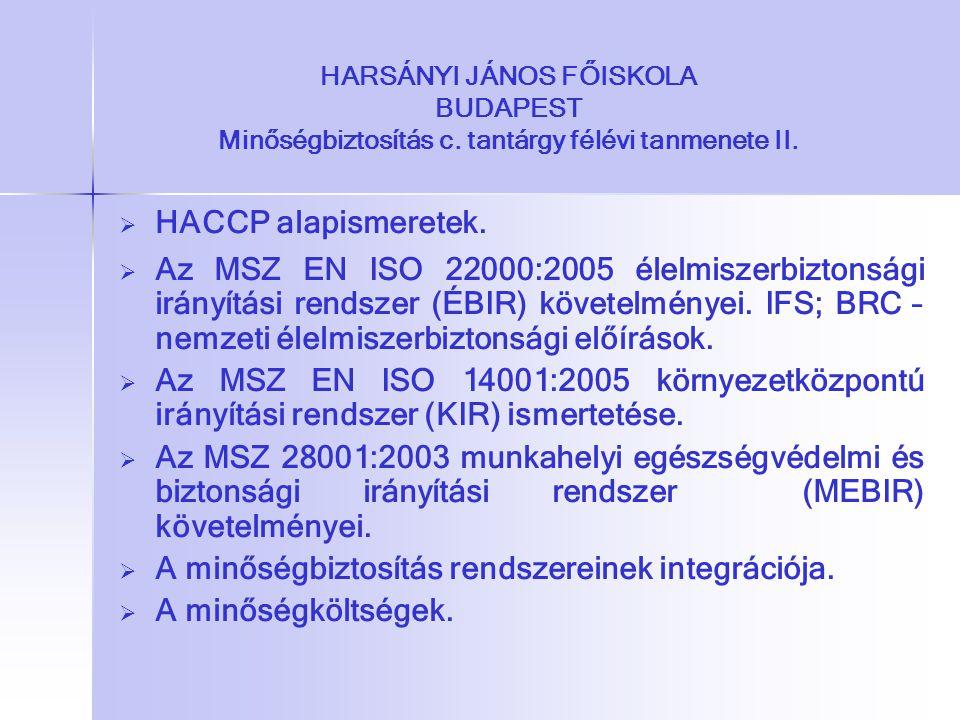 HARSÁNYI JÁNOS FŐISKOLA BUDAPEST Minőségbiztosítás c. tantárgy félévi tanmenete II.   HACCP alapismeretek.   Az MSZ EN ISO 22000:2005 élelmiszerbi