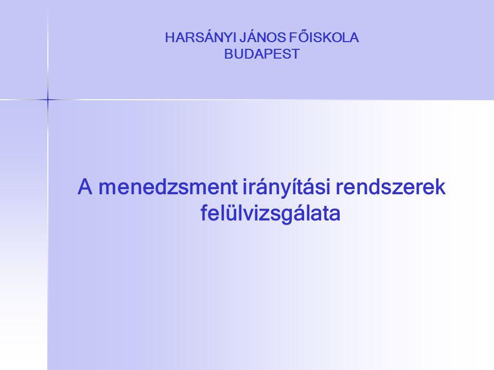 HARSÁNYI JÁNOS FŐISKOLA BUDAPEST A menedzsment irányítási rendszerek felülvizsgálata
