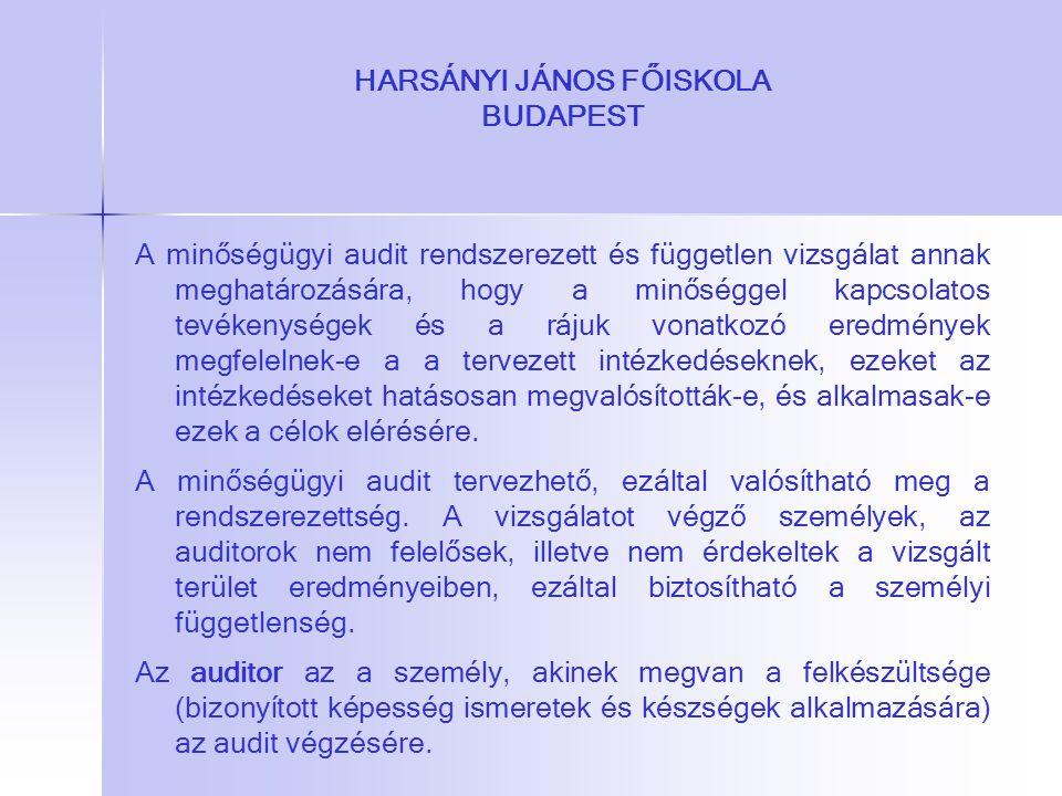 HARSÁNYI JÁNOS FŐISKOLA BUDAPEST A minőségügyi audit rendszerezett és független vizsgálat annak meghatározására, hogy a minőséggel kapcsolatos tevéken