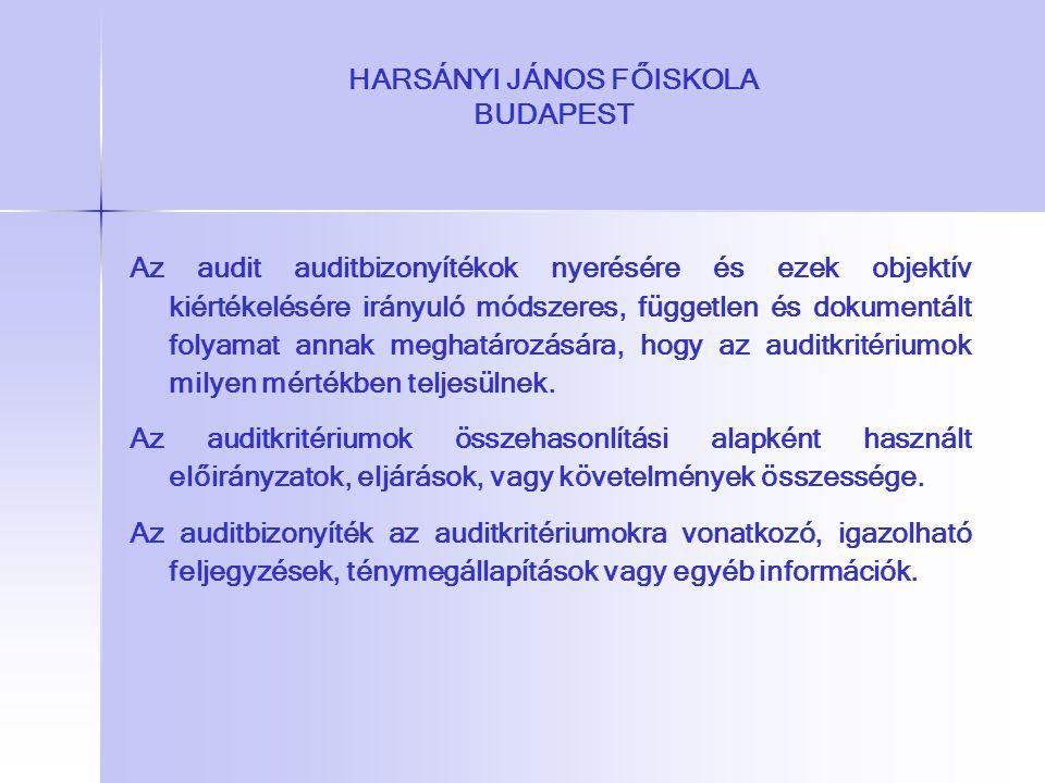 HARSÁNYI JÁNOS FŐISKOLA BUDAPEST Az audit auditbizonyítékok nyerésére és ezek objektív kiértékelésére irányuló módszeres, független és dokumentált fol