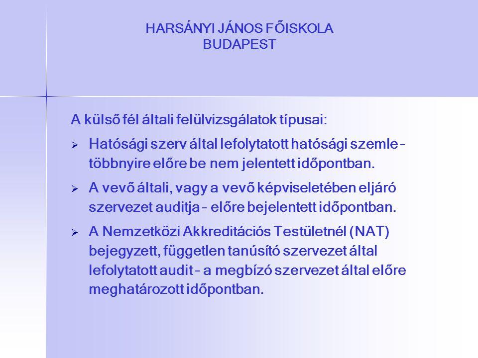 HARSÁNYI JÁNOS FŐISKOLA BUDAPEST A külső fél általi felülvizsgálatok típusai:   Hatósági szerv által lefolytatott hatósági szemle – többnyire előre