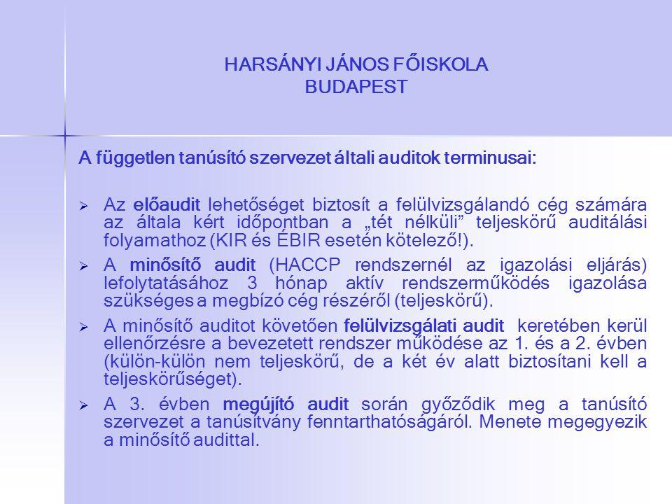 HARSÁNYI JÁNOS FŐISKOLA BUDAPEST A független tanúsító szervezet általi auditok terminusai:   Az előaudit lehetőséget biztosít a felülvizsgálandó cég