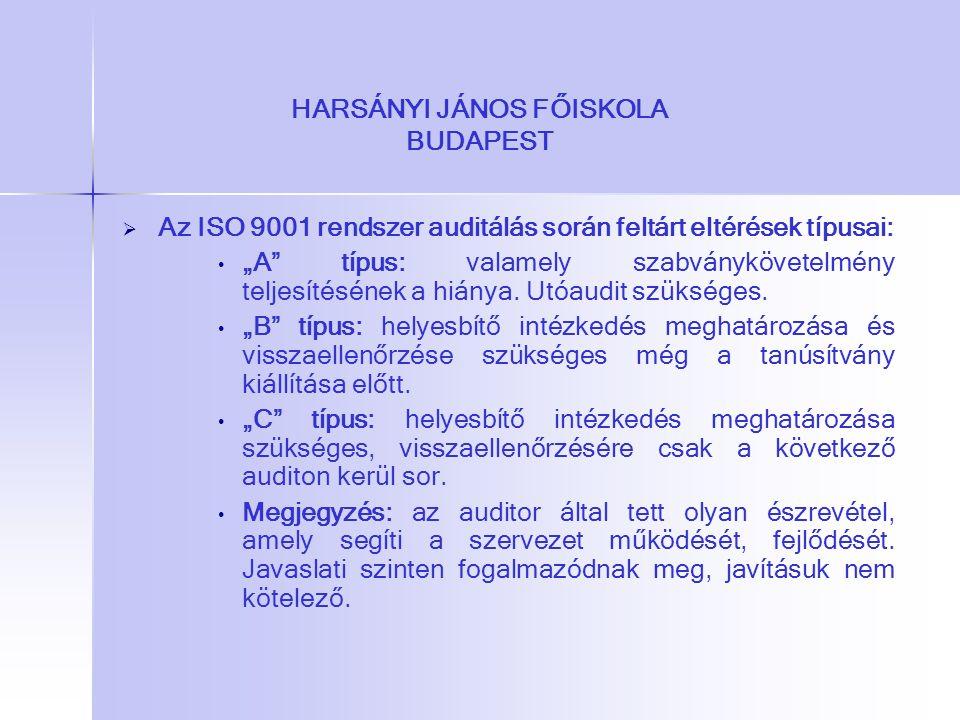 """HARSÁNYI JÁNOS FŐISKOLA BUDAPEST   Az ISO 9001 rendszer auditálás során feltárt eltérések típusai: """"A"""" típus: valamely szabványkövetelmény teljesíté"""