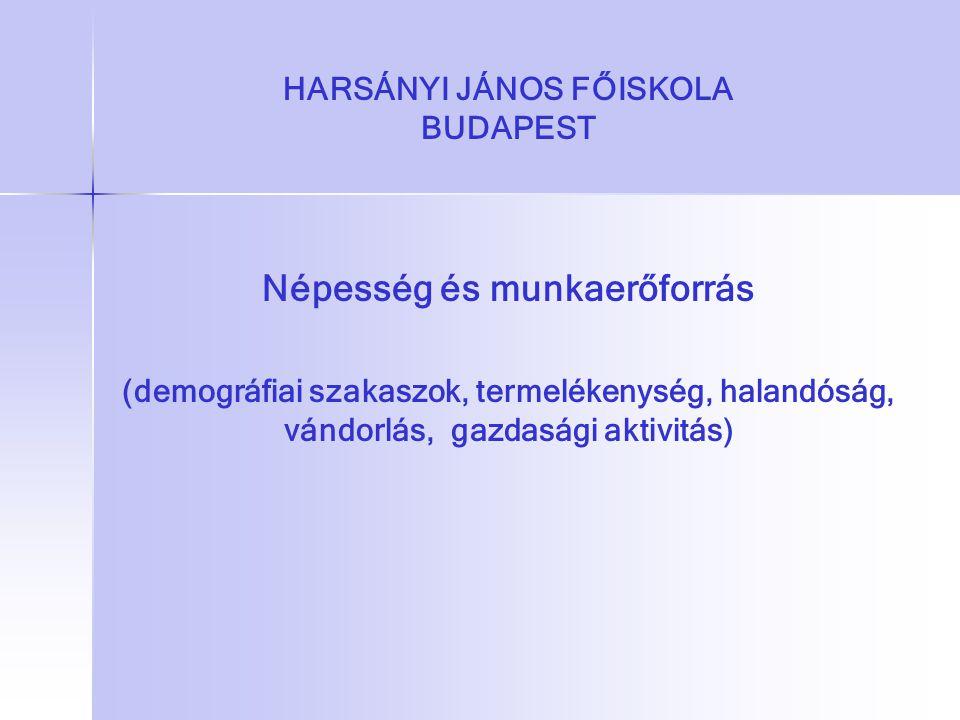 HARSÁNYI JÁNOS FŐISKOLA BUDAPEST Népesség és munkaerőforrás (demográfiai szakaszok, termelékenység, halandóság, vándorlás, gazdasági aktivitás)
