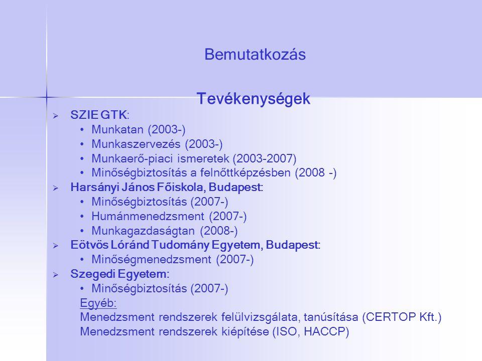 Bemutatkozás Tevékenységek   SZIE GTK: Munkatan (2003-) Munkaszervezés (2003-) Munkaerő-piaci ismeretek (2003-2007) Minőségbiztosítás a felnőttképzésben (2008 -)   Harsányi János Főiskola, Budapest: Minőségbiztosítás (2007-) Humánmenedzsment (2007-) Munkagazdaságtan (2008-)   Eötvös Lóránd Tudomány Egyetem, Budapest: Minőségmenedzsment (2007-)   Szegedi Egyetem: Minőségbiztosítás (2007-) Egyéb: Menedzsment rendszerek felülvizsgálata, tanúsítása (CERTOP Kft.) Menedzsment rendszerek kiépítése (ISO, HACCP)