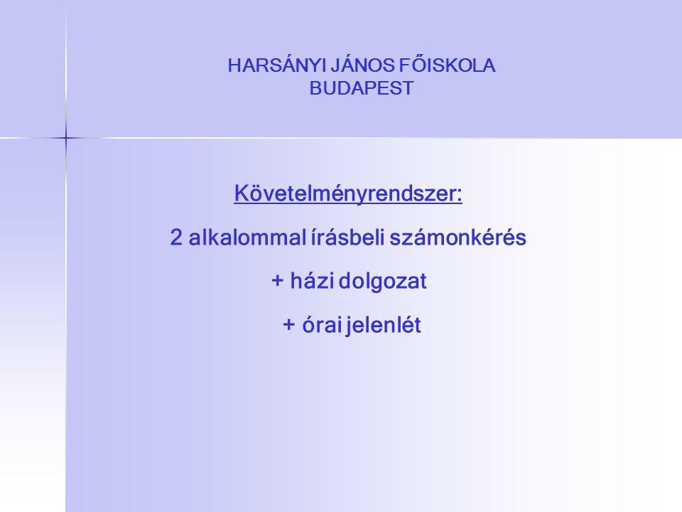 HARSÁNYI JÁNOS FŐISKOLA BUDAPEST Követelményrendszer: 2 alkalommal írásbeli számonkérés + házi dolgozat + órai jelenlét