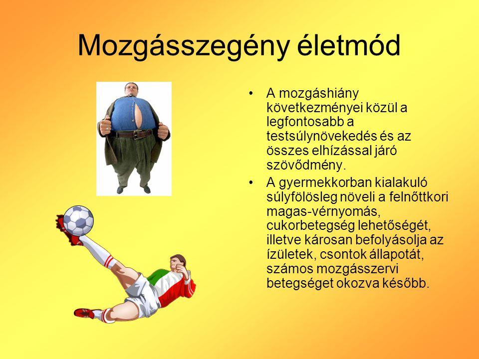 Mozgásszegény életmód A mozgáshiány következményei közül a legfontosabb a testsúlynövekedés és az összes elhízással járó szövődmény. A gyermekkorban k